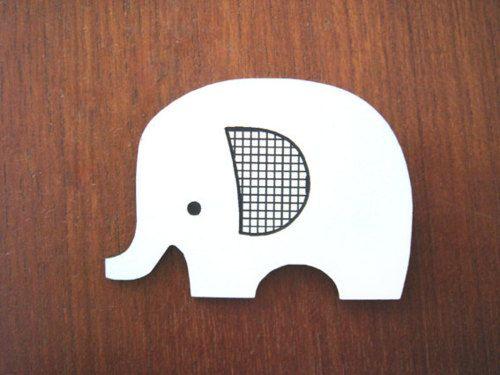 Little White Elephant Brooch by Enna Shop