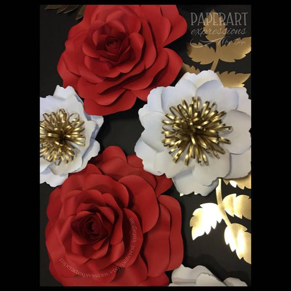 Red And White Flower Backdrop Red Roses Wall Decor Wedding