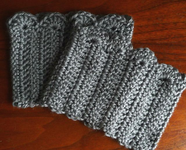 Free Baby Cardigan Knitting Pattern : Crochet Scalloped edge boot cuffs, using a free pattern on Ravelry.com! I...