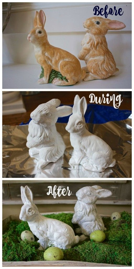 Chalk Painted Bunnies. Transform thrift store ceramic bunnies with spray chalk paint. It's a quick and easy project.  - 2 Bees in a Pod