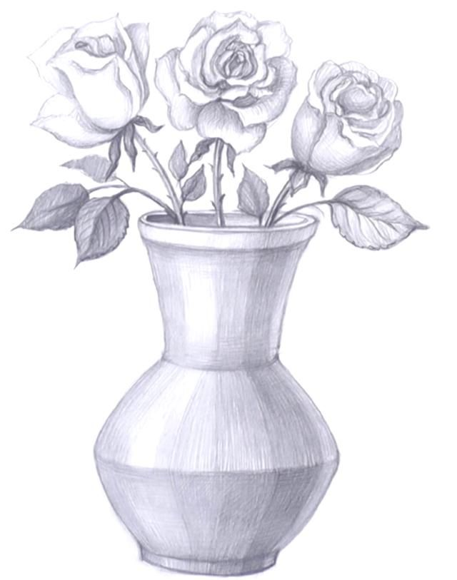 How To Draw A Vase With Flowers In 2020 Abstract Pencil