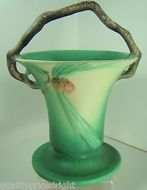 Roseville Art Pottery 1936 LARGE Pinecone Basket Green 338-10 ART DECO Twig Hndl
