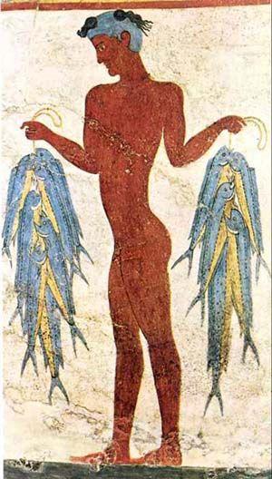Akrotiri - Fresco del pescador (habitación 5, edificio Oeste). Fechado en torno a 1.500 aC.