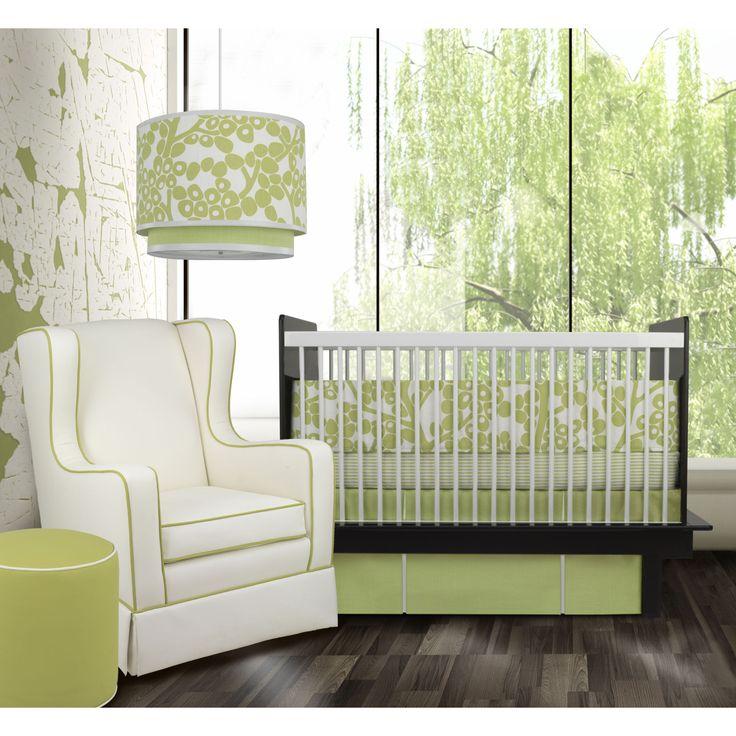 Oilo Modern Berries 3 Piece Crib Set in Spring Green   AllModern
