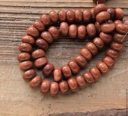 Для украшений ручной работы. Ярмарка Мастеров - ручная работа. Купить Авантюрин 8 мм - 10 шт рондель коричневый бусины для украшений. Handmade.