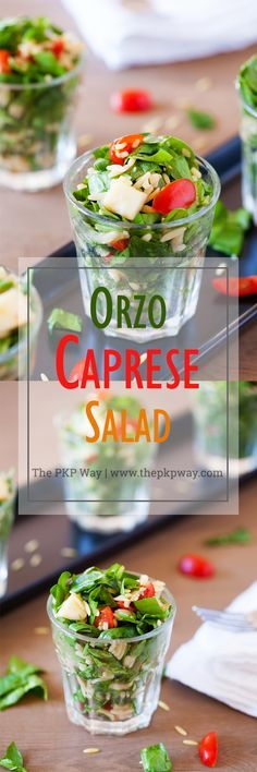 Classic caprese ingredients (basil, mozzarella, tomatoes, and balsamic vinaigrette) modernized into a salad with spinach and orzo pasta.