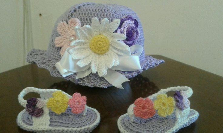 Cappellino + scarpetta sandali infradito neonata  cotone all'uncinetto, estivo, BabyHat, Baby Booties bonnet crochet idea regalo  cap shoos di UncinettodiAnita su Etsy