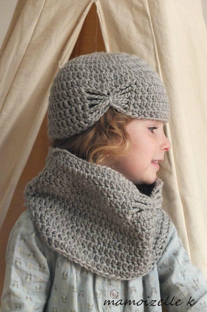 Bonnet et col noeud au crochet Mamoizelle K
