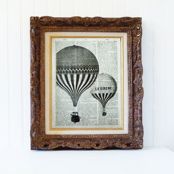 Hot Air Balloon Print Bookpage Dictionary Art Print Book Page Home Decor Vintage Blue Black And