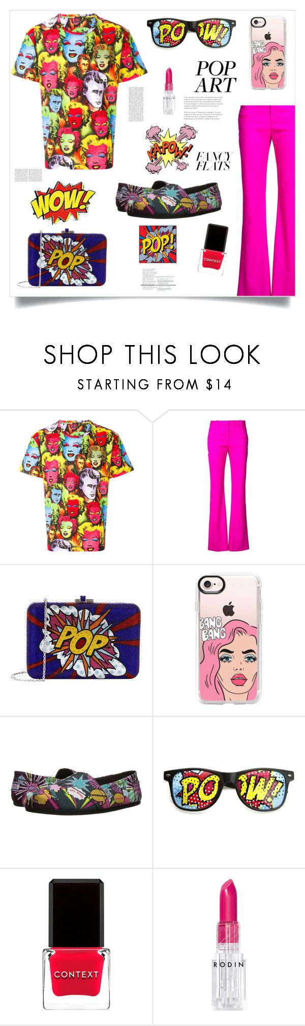 """""""Pop Art"""" by im-karla-with-a-k ❤ liked on Polyvore featuring Versace, Altuzarra, Judith Leiber, Casetify, BOBS from Skechers, ZeroUV, Context, Rodin and chicflats"""