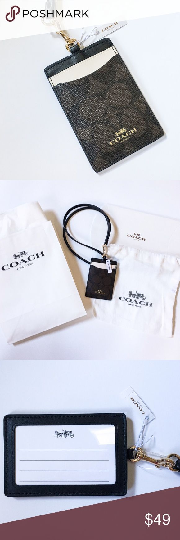 "Coach Signature Lanyard Color Block ID Holder Authentic NWT Coach signature jacquard lanyard made from luxurious leather material with clear plastic window for picture ID and slots for other cards. I receive many complements on mine! Strap drop of the necklace is 15"" total circumference is 30."" The strap is slightly curved at first, but straightens out after use. This chic lanyard is new with tags and never worn! Perfect for gift giving or for your fabulous with gift box, dust bag, paper…"