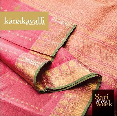 This endearing Kanjivaram silk sari is a charming beauty! Thoranam weaves of floral motifs in zari adorn the gorgeous pink body. The grandeur of the pallu is enhanced by bands of zari woven with paisleys, vanki weaves and mayil kans. Designed to be the cynosure of all eyes, this Kanakavalli Kanjivaram is a perfect pick for our Sari of the week.