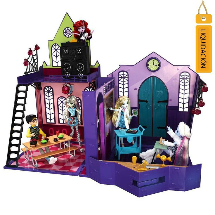 ¡Ahora los pasillos de Monster High cobran vida con el último accesorio que se ve justo como la terrible escuela! Este set plegable se abre para revelar seis áreas de juego que le darán a tus pequeñas horas de diversión.