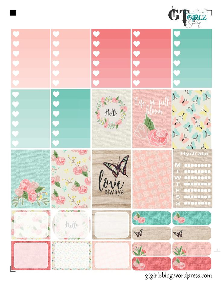 Free Printable Floral Planner Stickers from GTZ Girlz