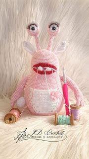 Crochet Monster Amigurumi contest 2016 Mrs. Glamour the Yarn monster Gehaakt monster