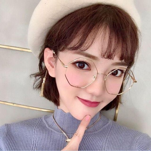 a7d9259cfc Oversized Korean Round hexagonal Glasses Frame Clear Lens Women Men Gold  Eyeglass Optic Frame Eyewear Vintage Spectacles