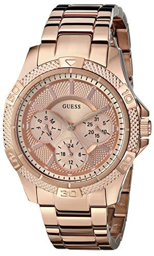 GUESS Womens U0235L3 Dynamic Feminine Rose GoldTone MidSize Sport Watch * For mo...