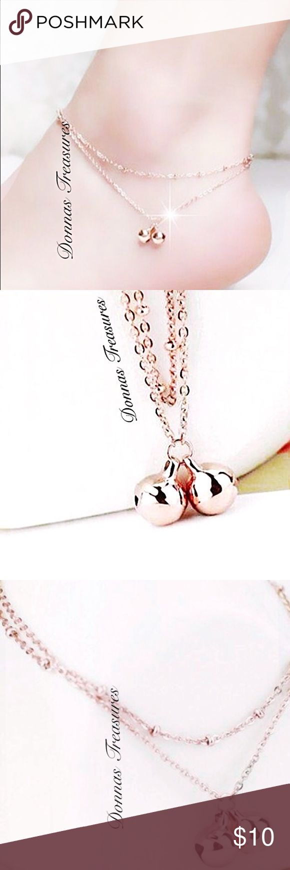 """Rose Gold Bell & Double Chain Anklet This anklet is 9K Rose Gold Filled. It features a double row chain. Measures 7 1/2"""" & has a 2"""" extender chain. Jewelry Bracelets"""