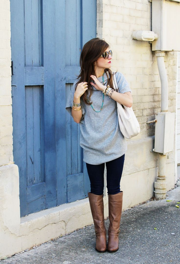 not loving that shirt but this is how you wear a top w/ leggings. it needs to be past crotch level so it covers any panty lines possible and the top should be loosie goosie. best w/ boots (knee) or flats.  ankle boots are really in this season. and the lace up kind too.
