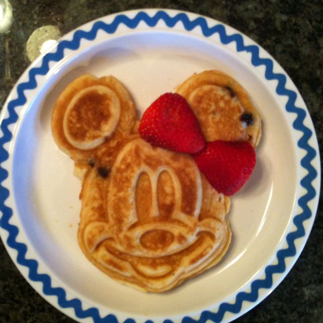 Mickey waffle iron + strawberry = Minnie Mouse