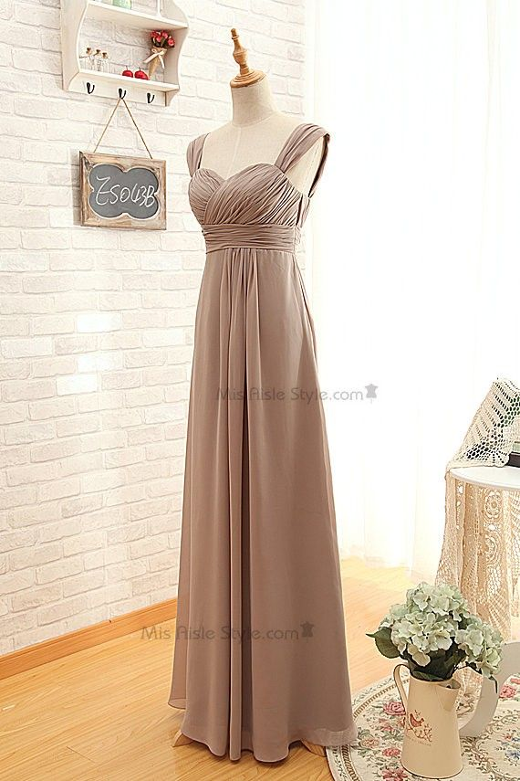 Long Wide Straps Brown Bridesmaid Dress