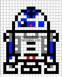 R2-D2 minecraft pixel art templates