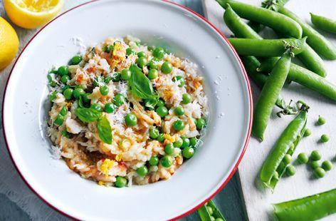 Pea and crab risotto with lemon and basil | Recipe | Crab ...