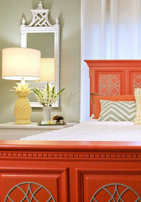 Welcoming coral and gray guest bedroom via Noir Design (love the lamp!)