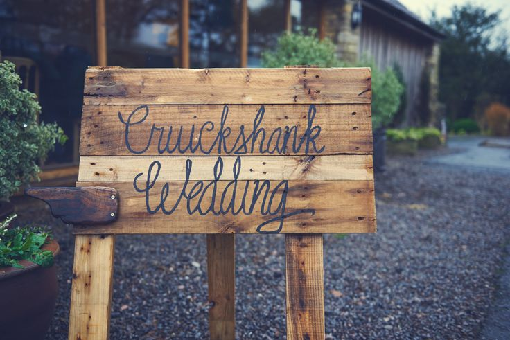 Kingscote Barn Wedding. Welcome Sign. Amazing photos compliments Dan Fisher Photography - such a great photographer, loved sharing our day with him #kingscotebarn #winterwedding #danfisherphotography #gloucestershire