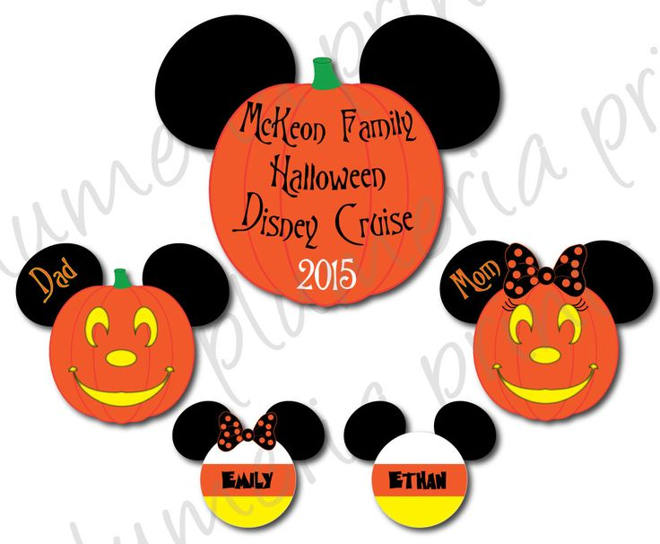 Family Halloween Disney Cruise Magnet Set for Cabin Stateroom Door - Pumpkin Mickey Mouse and Candy Corn Heads by plumeriaprints on Etsy