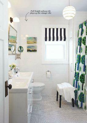 Our HouseBathroom Design, Romans Shades, Guest Bathroom, Bathroom Makeovers, Small Bathroom, White Bathrooms, Bathroom Ideas, Shower Curtains, Kids Bath