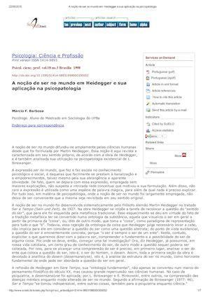 A Noção De Ser No Mundo Em Heidegger E Sua Aplicação Na Psicopatologia
