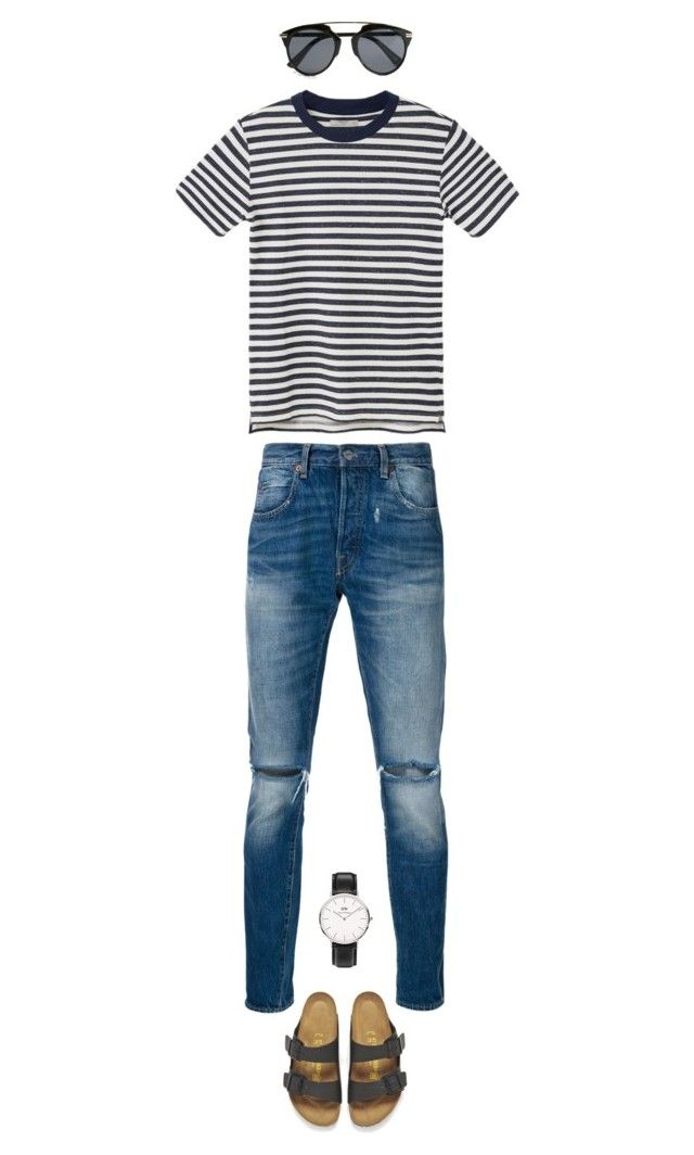"""Untitled #86"" by priliscaa on Polyvore featuring Levi's, MANGO MAN, Birkenstock, Topman, Daniel Wellington, men's fashion and menswear"