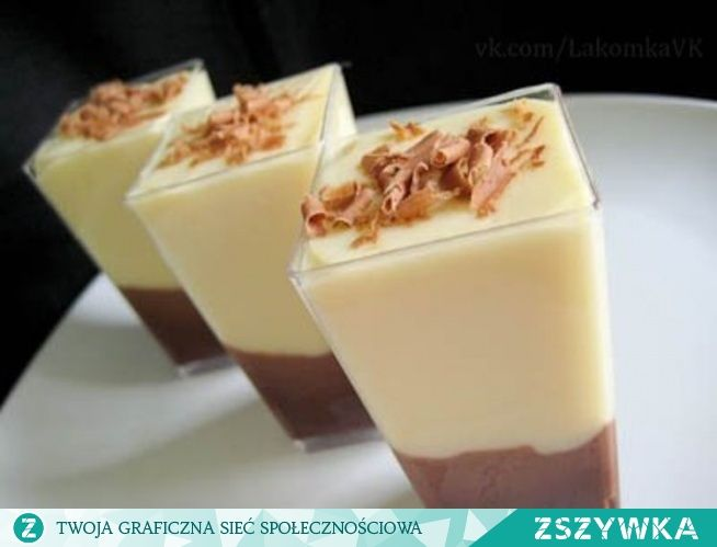 Zobacz zdjęcie Deser waniliowo-czekoladowy Składniki: 1 gorzka czekolada 2 jajka łyżeczka masła łyżeczka cukru waniliowego budyń waniliowy Przygotowanie: Najpierw przygotowujemy mus czekoladowy. W kąpieli wodnej (jeden garnek wkładamy do drugiego, w którym gotuje się woda) rozpuszczamy masło, do rozpuszczonego masła dodajemy pokruszoną czekoladę. Rozpuszczamy do momentu aż czekolada będzie płynna. Zdejmujemy z ognia, dodajemy po jednym żółtku i mieszamy. Następnie ubijamy białka z…