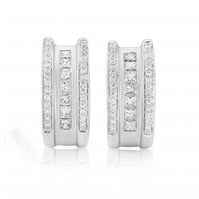 Rudells 18ct White Gold Diamond Half Hoop Earrings - Small Image