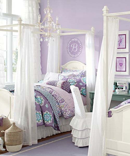 Girls Canopy Bed Girls Canopy Bed: Detailed with artful curves and signature moldings, the Madeline Canopy Bed has sweet style.
