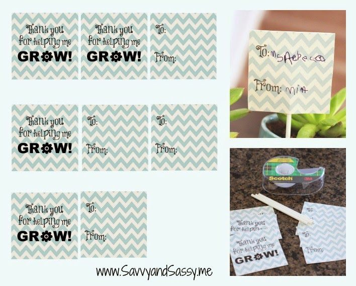 Thank You For Helping Me Grow - Teacher Appreciation Gift {Free Printable}