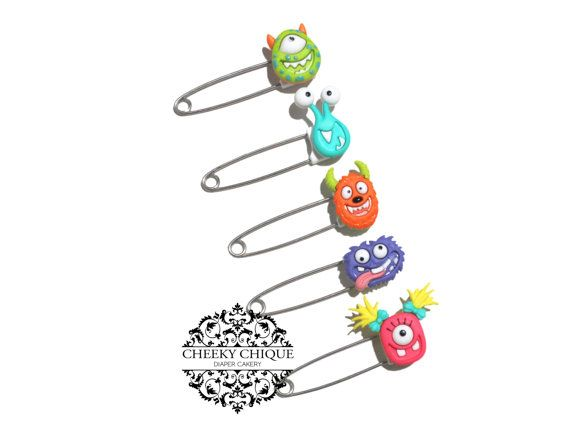 Monster Diaper Pins by Cheeky Chique Baby Diaper Cakery
