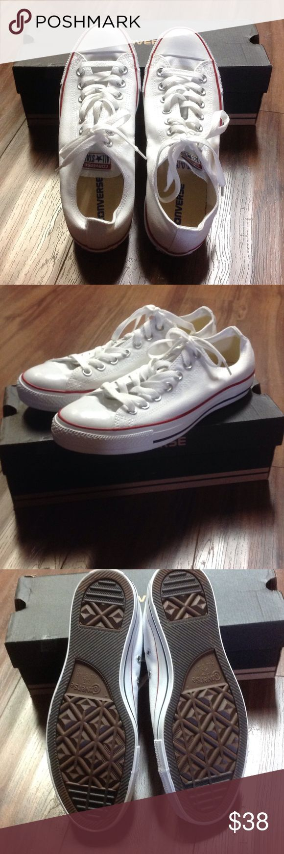 White converse shoes NEW! New with a box. Size 9 for men and 11 for women. Converse Shoes Sneakers