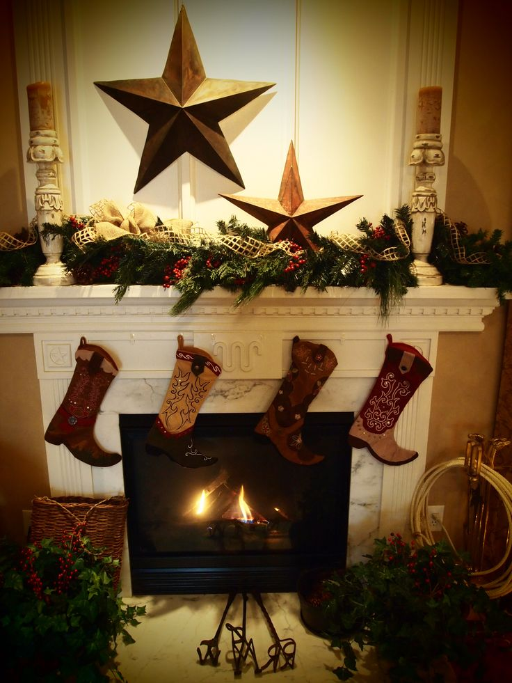 Cowboy Christmas - Western Decorations - star, candlestick, fireplace, boot stockings, rope  © Robin Workman