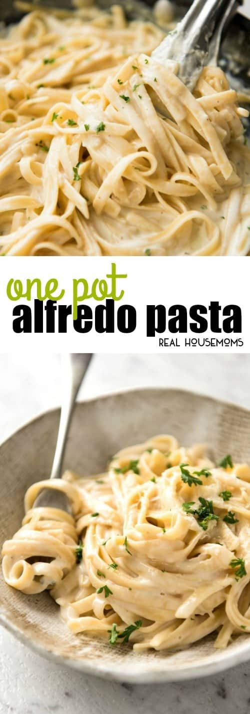Yes, you CAN make a creamy alfredo pasta in ONE POT! You'll be blown away how good this One Pot Alfredo Pasta is! This is a game changer!! via @realhousemoms