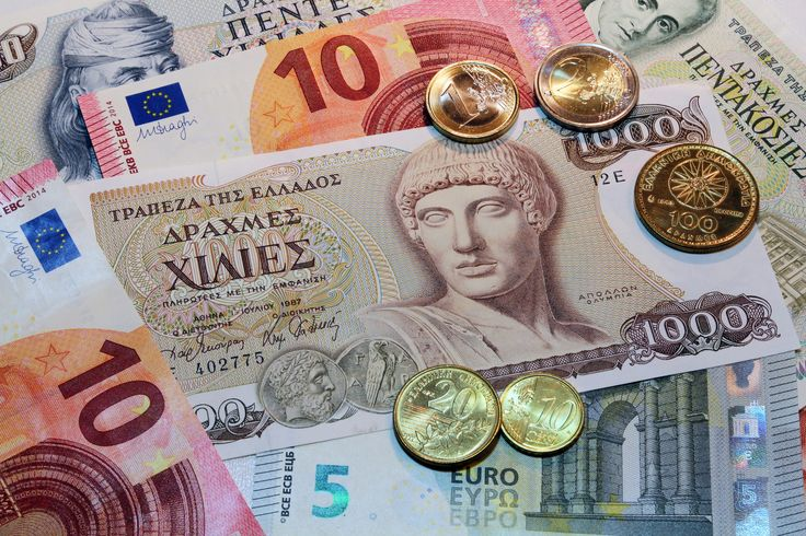 Drachmes banknotes and coins