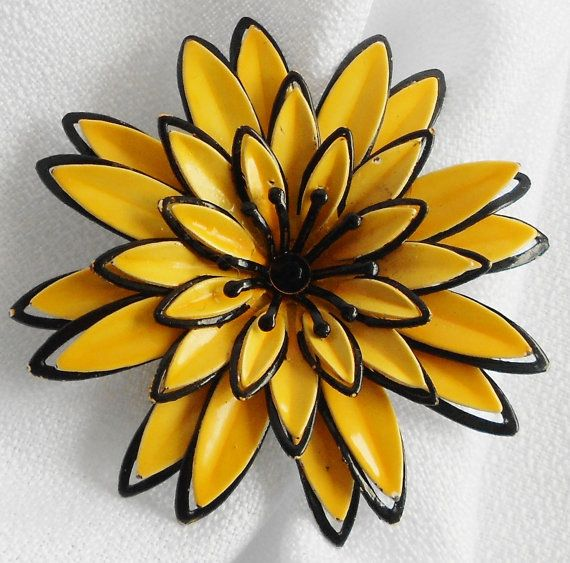 Yellow and Black Delilah Enamel Flower Brooch by normajeanscloset, $18.99