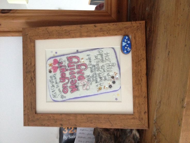 Here's on of our 'received' wedding cards all framed up. These make a fab keepsake to remember that special day.  Order yours from www.fb.com/somethingalittlebitdiffeRnt  #wedding #card #freehandmachineembroidery #love
