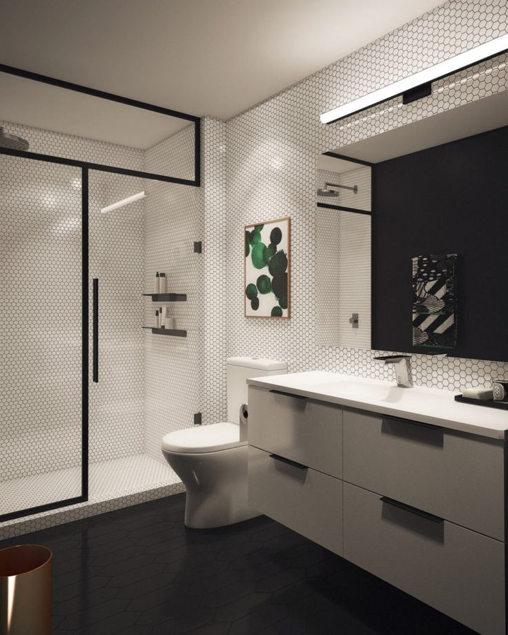 basic bathroom gets a graphic modern renovation design milk - Basic Bathrooms