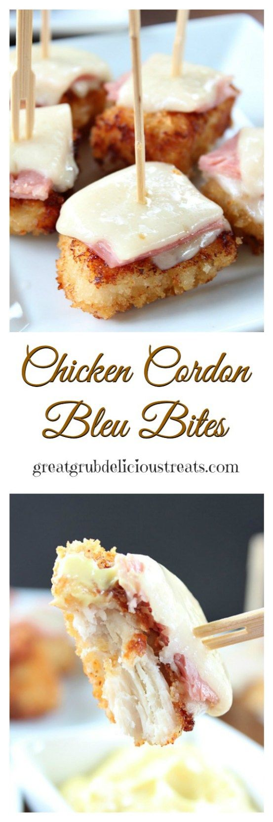 Chicken Cordon Bleu Bites. These are perfect for a party!