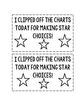A cute certificate and positive reinforcement for those making star choices.