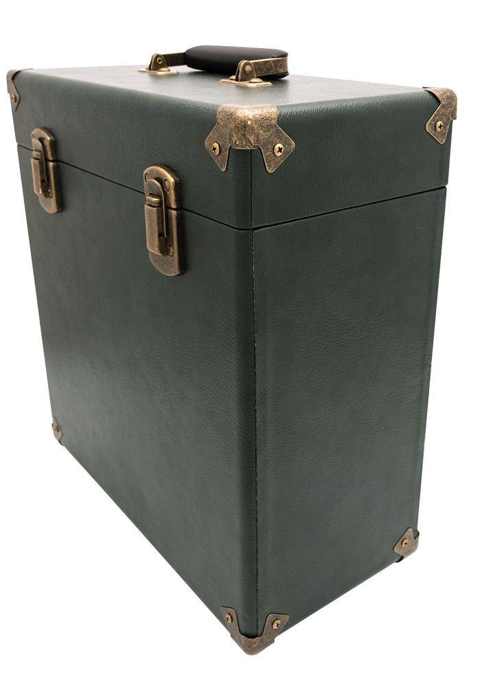 "GPO Vinyl Record Case Albums 12"" LPs Storage DJ Flight Box with Lid - Dark Green"