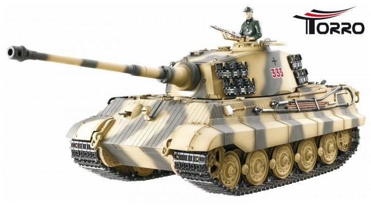 """Carri armati radiocomandati in scala 1/16 King tiger Königstiger Tiger 2  METAL EDITION 2,4 GHz """"IR"""" MIMETICO, produttore Torro, codice 1112200700 in vendita su Rc Italia"""