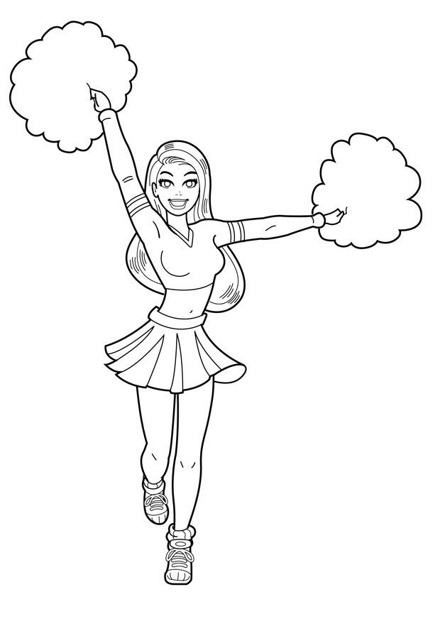 Free Printable Cheerleading Coloring Pages For Kids Coloring Pages For Girls Coloring Pages For Kids Sports Coloring Pages